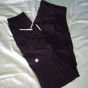 Lululemon maroon mesh reflective leggings